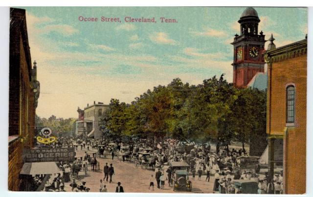 Circa 1910 postcard showing the Odd Fellows Sign in Cleveland, Tennessee